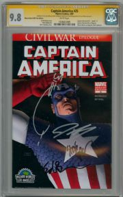 Captain America #25 Wizard World Variant CGC 9.8 Signature Series Signed x4 Quesada Epting Brubaker Marvel comic